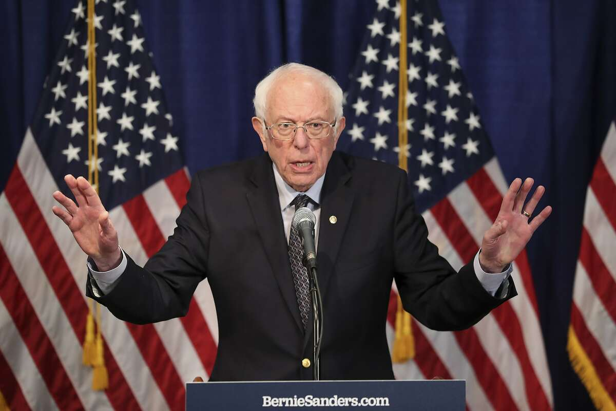 Democratic presidential candidate, Sen. Bernie Sanders, I-Vt., speaks to reporters on Wednesday, March 11, 2020, in Burlington, Vt. (AP Photo/Charles Krupa)