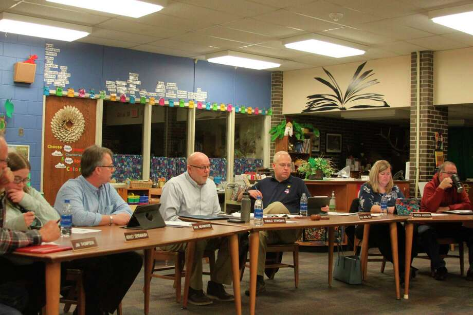 Members of the Manistee Area Public Schools Board of Education discuss the Jefferson Elementary School ad hoc committee that they will be forming to get feedback on that property if the May 5 bond proposal passes. (Ken Grabowski/News Advocate)