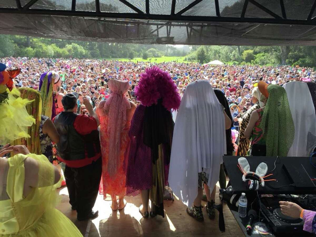 """The Sisters of Perpetual Indulgence stand before the crowd at the annual Easter Sunday """"Hunky Jesus"""" competition in 2018."""