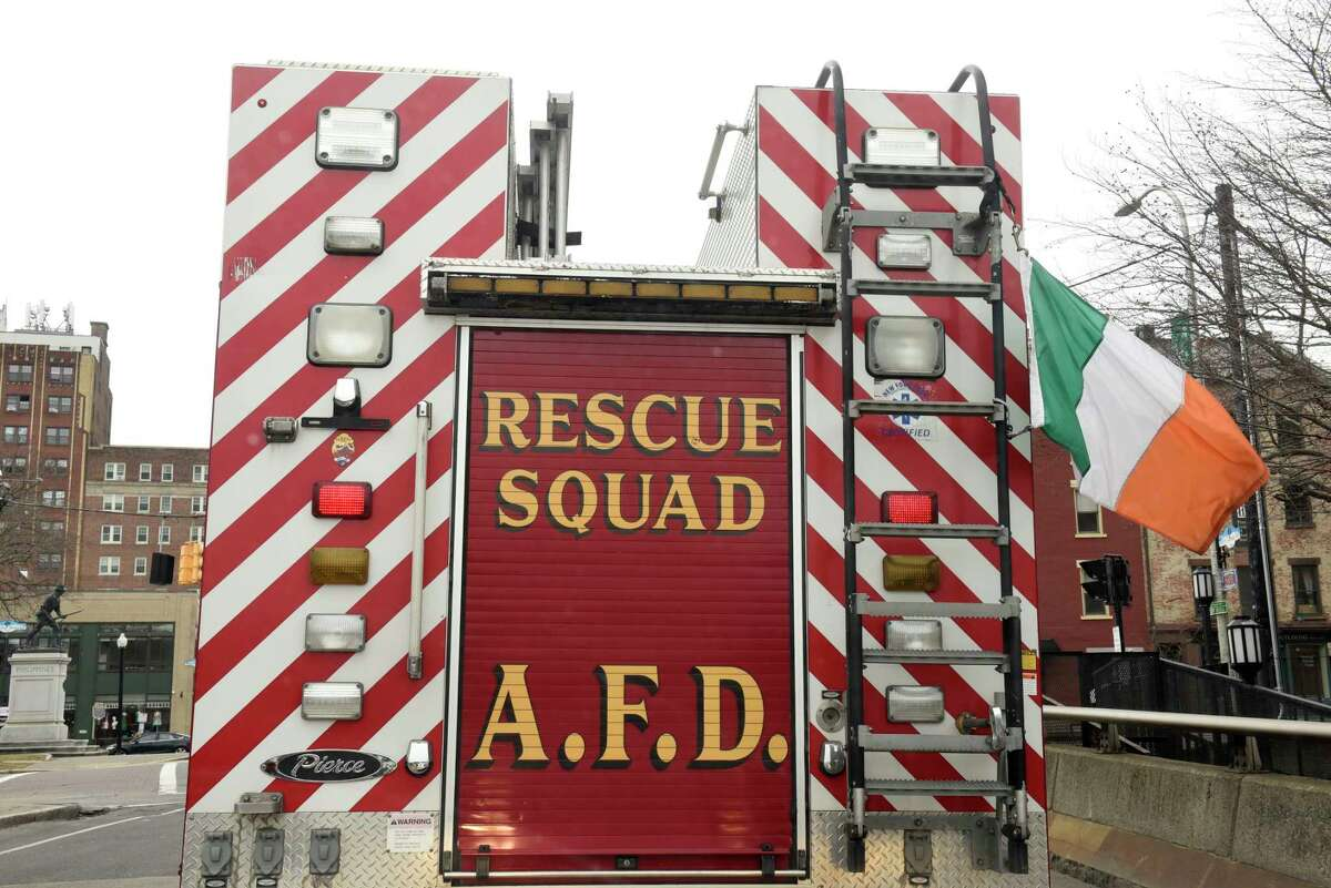 An Albany Fire Department rescue squad truck is seen flying an Irish flag on Henry Johnson Blvd. on Wednesday, March 11, 2020 in Albany, N.Y. Firefighters responded to a fire that damaged two homes on Sheridan Avenue May 23, 2021. (Lori Van Buren/Times Union)