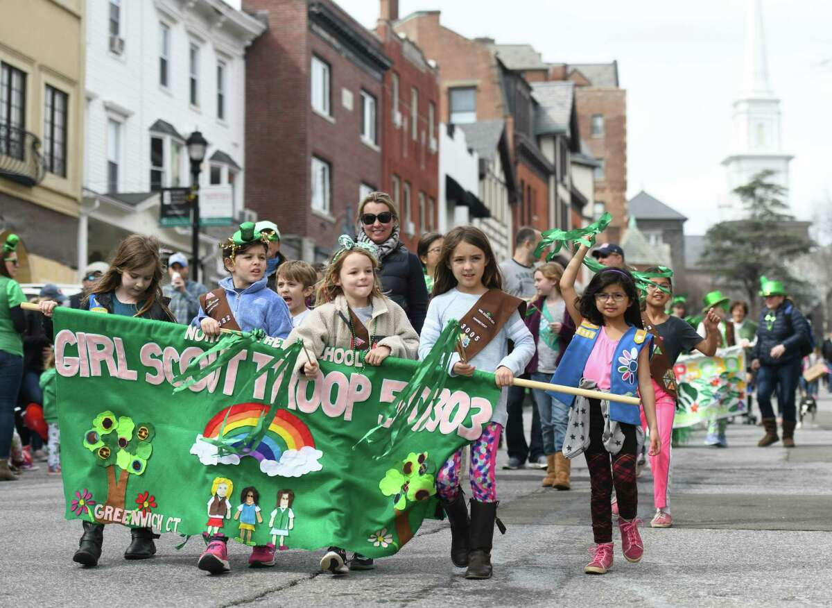 The annual St. Patrick's Day Parade will again be unable to go forward this March due to the coronavirus. The parade, seen here in 2019, also had to be canceled last year because of the pandemic. The plan is to go ahead with raising the Irish flag at Town Hall on March 17 to mark St. Patrick's Day, he said. The parade was canceled last year as well as the pandemic hit in mid-March 2020 - one of the first major events called off in Greenwich due to COVID-19. St. Patrick's Day Parades were also canceled in New York, Boston and other cities, but Stamford was able to hold its parade in 2020 because it was held on an earlier date. Toner was scheduled to be the grand marshal last year as well. Dougherty said they intend to honor in the 2022 parade.