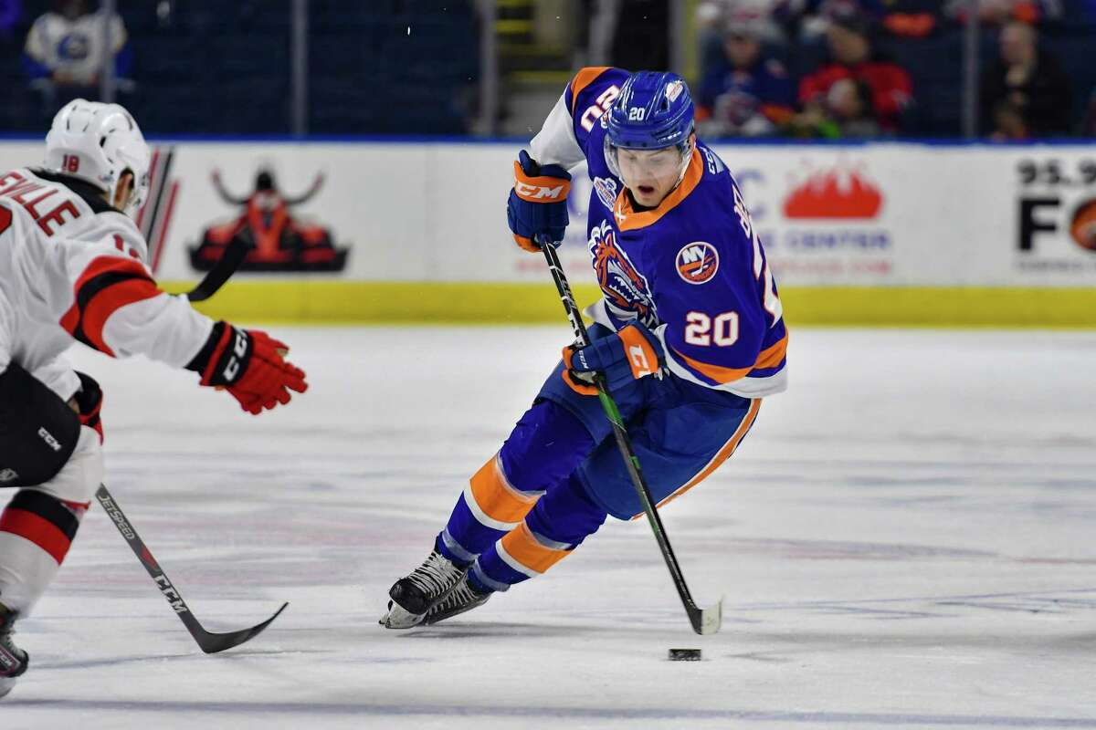 The Bridgeport Sound Tigers' Kieffer Bellows handles the puck against the Binghamton Devils on March 1, 2020 at Webster Bank Arena in Bridgeport, Conn.