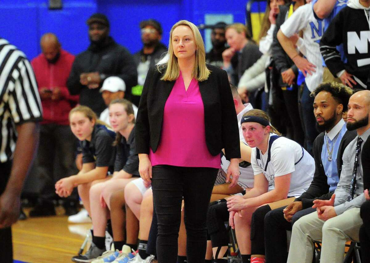 Notre-Dame coach Maria Conlon watches her team uring the SWC Girls Basketball Tournament against Newtown in Stratford in February.