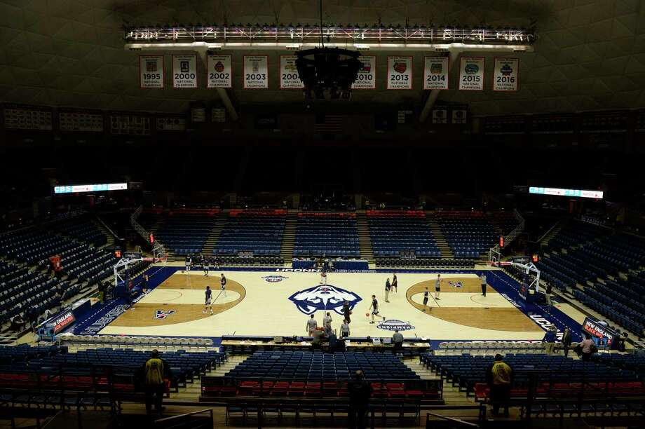 Gampel Pavilion will be empty for first-round women's basketball tournament games after the NCAA annoucned on Wednesday that all postseason basketball games will be played without fans to help prevent the spread of coronavirus. Photo: Icon Sportswire Via Getty Images / ©Icon Sportswire (A Division of XML Team Solutions) All Rights Reserved
