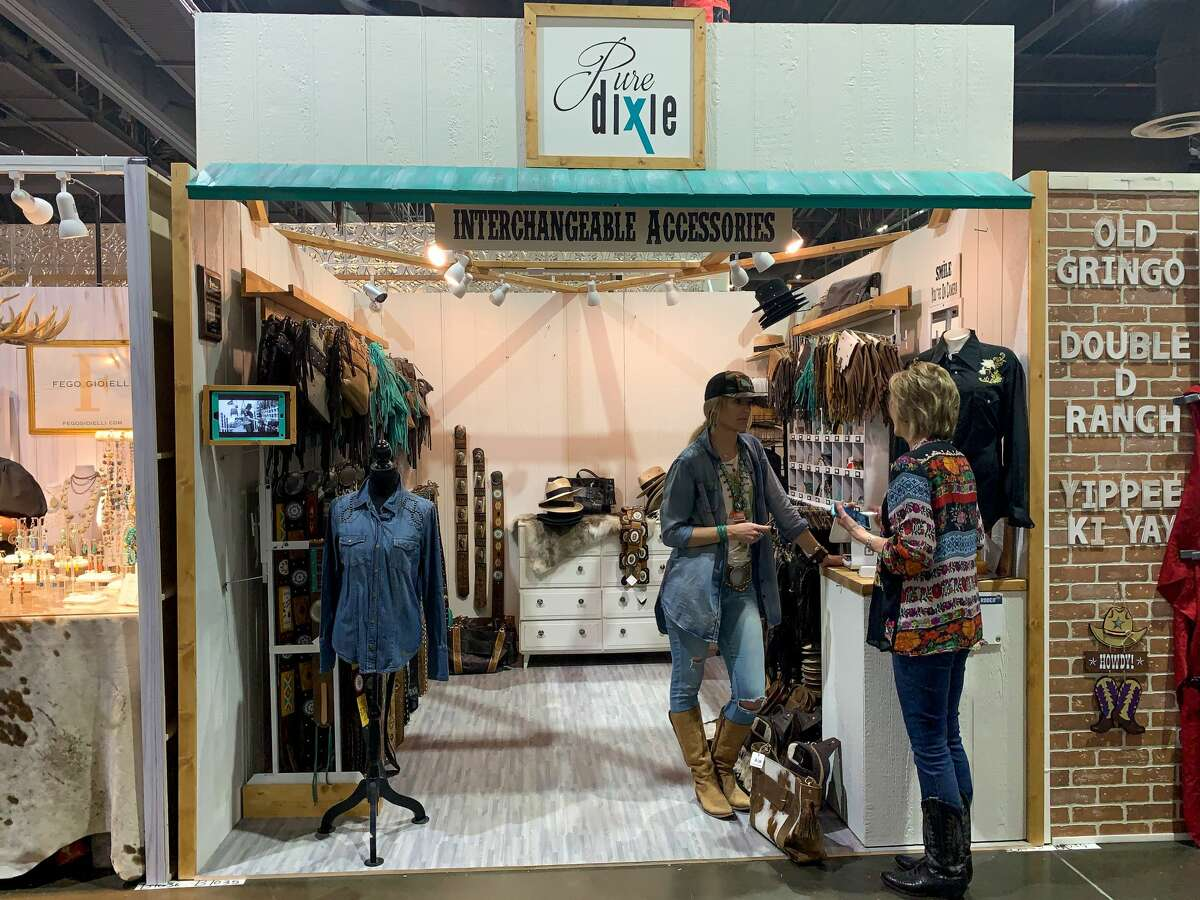Dixie Berger of Pure Dixie drove a trailer of high-end Western-style handbags and belts to sell at the 2020 Houston Livestock Show and Rodeo. About a week into the event, officials canceled the remainder of RodeoHouston and Berger and other vendors are left to figure out how to sell their surplus of goods.
