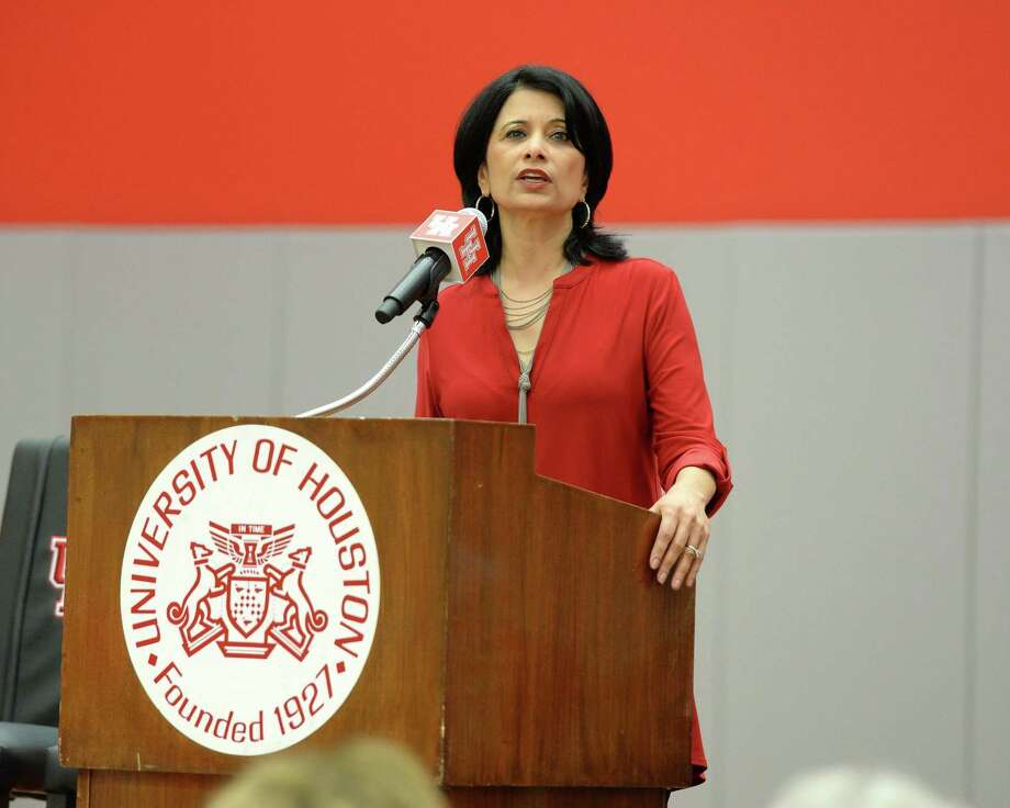 University of Houston President Renu Khator, pictured in a 2018 file photo, announced Wednesday that next week's classes have been canceled amid concerns about the novel coronavirus. Photo: Craig Moseley / Internal