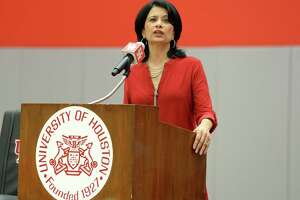 University of Houston President Renu Khator, pictured in a 2018 file photo, announced Wednesday that next week's classes have been canceled amid concerns about the novel coronavirus.