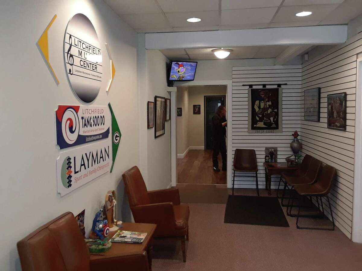 Joe DiBlasi, owner of Litchfield Piano Works in Litchfield, recently renovated his Route 202 building and renamed it the Litchfield Music Center. Its tenants include musicians, a chiropractor and a karate school. Above, the lobby of the center.