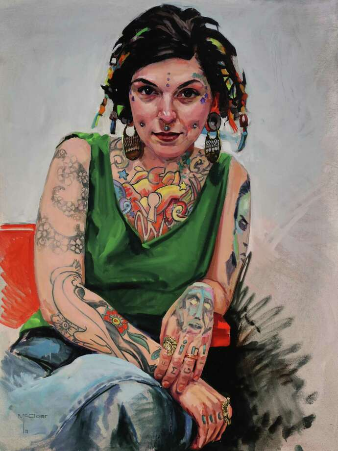 "Brian McClear's oil paintings celebrate the world of tattoos, and the people whose bodies become their own canvases. His work, part of the ""Powerful Figures"" exhibition, is on display March 13-April 18, at Five Points Gallery in Torrington. Photo: Brian McClear / Contributed Photo"