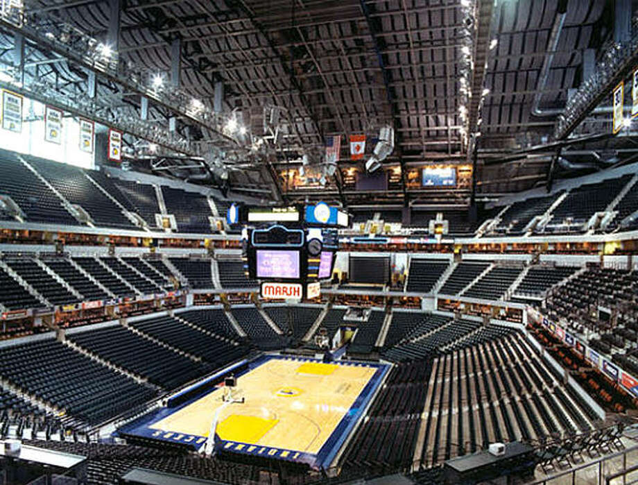 Bankers Life Fieldhouse in Indianapolis, the site of this week's Big 10 Tournament, sits empty. It will remain empty, with the exception of necessary personnel, the rest of the tournament. Wednesday evening, Big 10 officials said the tourney will be closed to fans the rest of the way because of the threat of the Coronavirus. Photo: File Photo