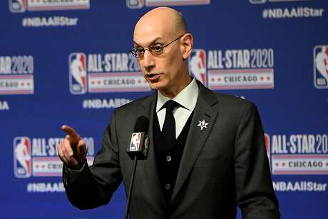 NBA Commissioner Adam Silver speaks to the media during a press conference at the United Center on Feb. 15, 2020 in Chicago, Ill. The NBA is suspending the 2019-20 season following news a player for the Utah Jazz tested positive for the coronavirus. (Stacy Revere/Getty Images/TNS)