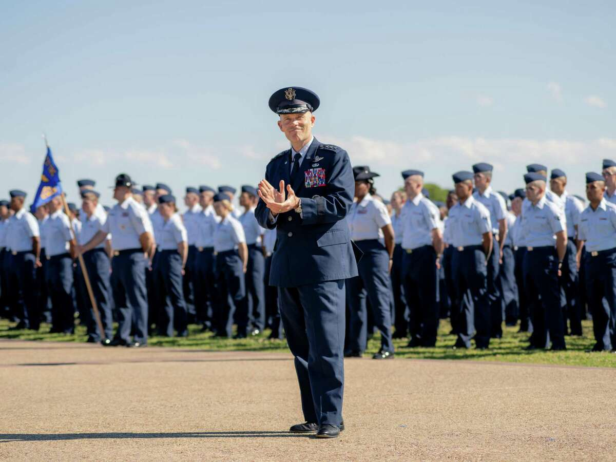 Lt. Gen. Steven Kwast speaks to the new Airmen and their families at Joint Base San Antonio-Lackland during the military's Fiesta celebration and basic training graduation in San Antonio, Texas on Friday, April 19, 2019.