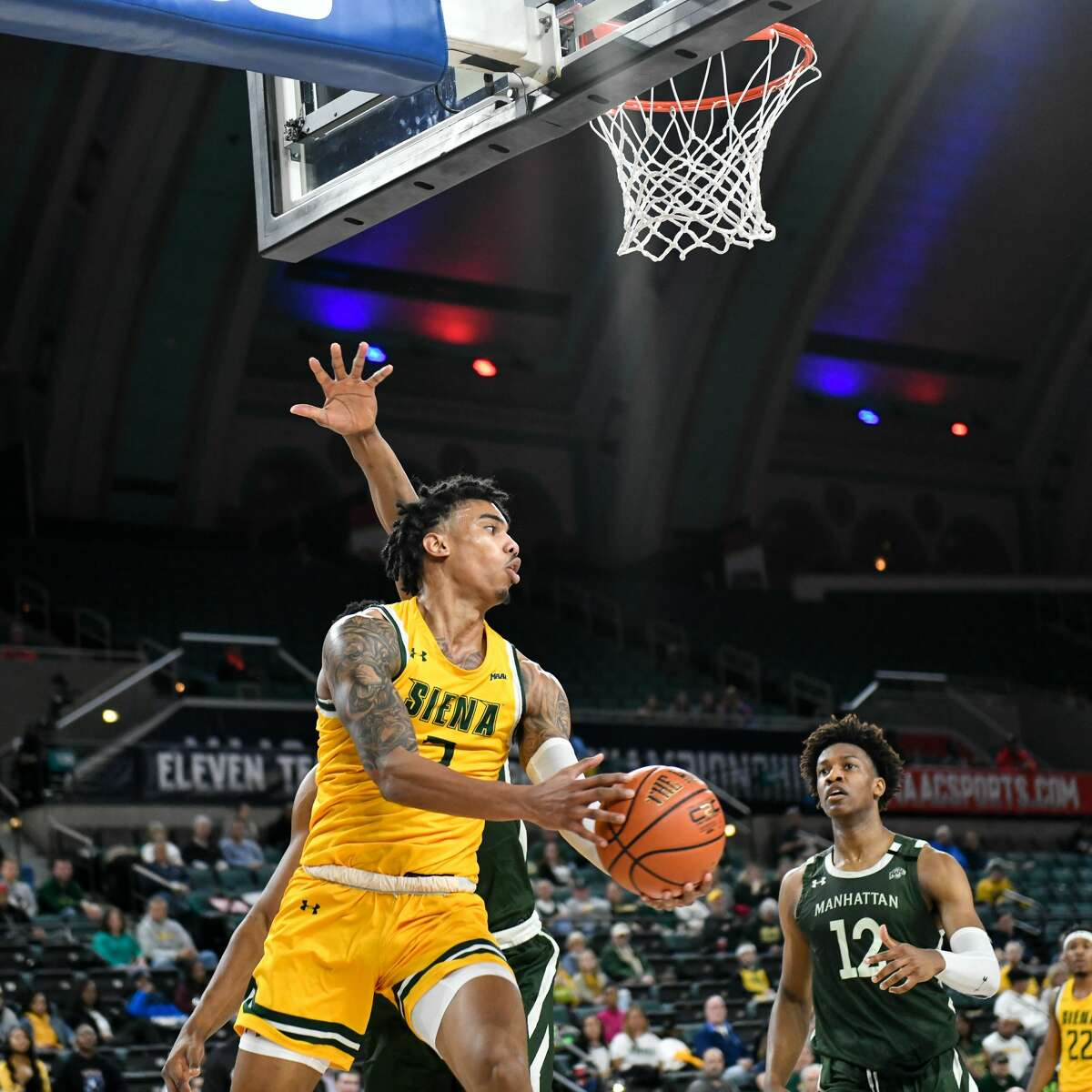 Manny Camper of Siena goes to the basket against Manhattan in the quarterfinals of the Metro Atlantic Athletic Conference Tournament on Wednesday, March 11, 2020, in Atlantic City, N.J. (Chuck Marvel / Special to the Times Union)