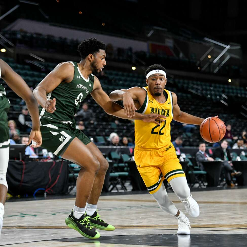 Jalen Pickett of Siena drives to the basket against Manhattan in the quarterfinals of the Metro Atlantic Athletic Conference Tournament on Wednesday, March 11, 2020, in Atlantic City, N.J. (Chuck Marvel / Special to the Times Union)