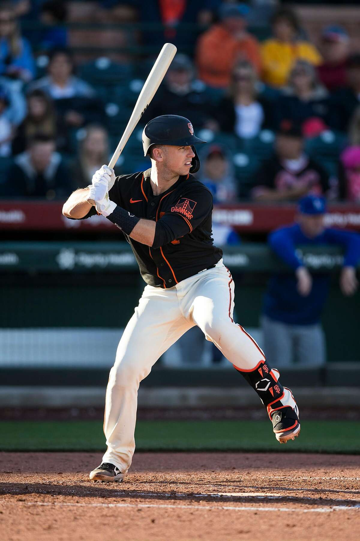 SCOTTSDALE, AZ - FEBRUARY 22: Buster Posey #28 of the San Francisco Giants bats during the game against the San Francisco Giants on Saturday, February 22, 2020 at Scottsdale Stadium in Scottsdale, Arizona. (Photo by Adam Glanzman/MLB Photos via Getty Images)