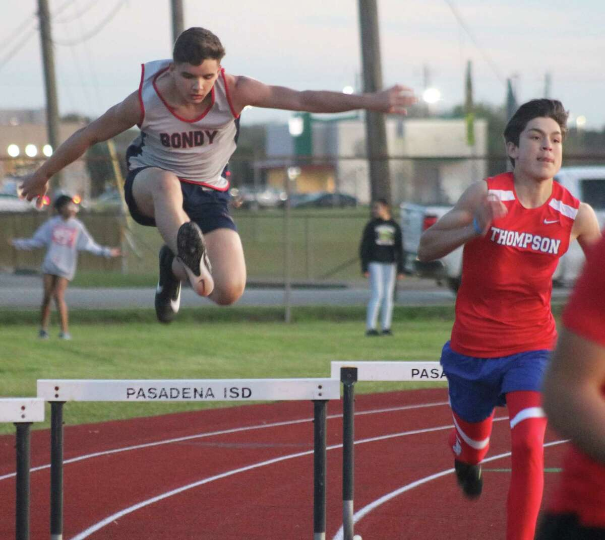 Bondy's Fabian Garza easily clears another set of hurdles during one of the events at the district track meet last week. He scored four points in the 300-meter hurdles.