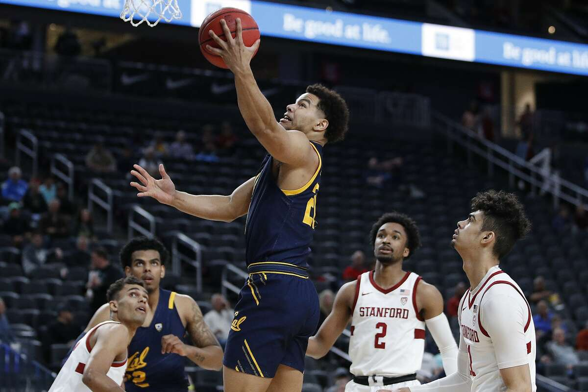 California's Matt Bradley (20) shoots against Stanford during the first half of an NCAA college basketball game in the first round of the Pac-12 men's tournament Wednesday, March 11, 2020, in Las Vegas.