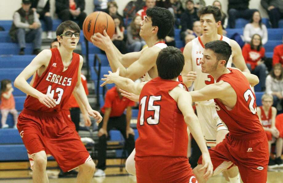 The Kingston boys basketball team ended Caseville's season on Wednesday night with an 83-40 win in district play at Kinde. Photo: Mark Birdsall/Huron Daily Tribune