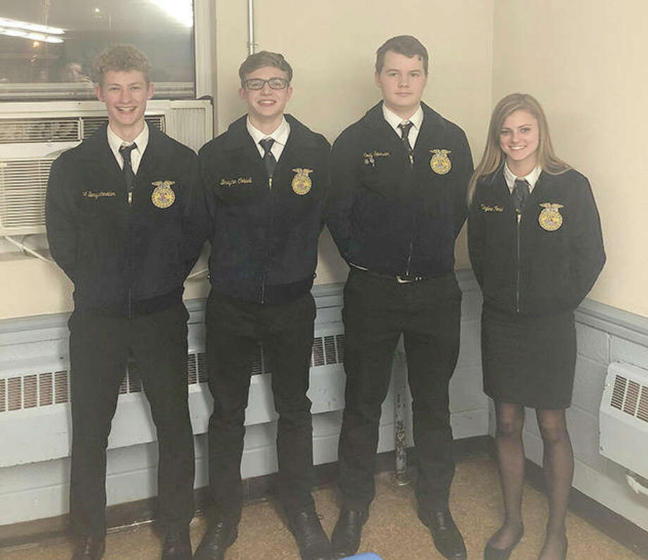 Franklin FFA members Thad Bergschneider (from left), Brayden Colwell, Cody Spencer and Kaylee Ford attended the Section 13 Ag Business and Public Speaking CDE this week at Pleasant Hill High School. The team placed second in agriculture business and Colwell placed seventh, Bergschneider was sixth and Ford received fifth. In the public speaking section, Bergschneider was first in creed speaking; Colwell placed first in varsity prepared public speaking; Ford was first in JV prepared public speaking and Spencer placed fourth in JV extemporaneous public speaking. Bergschneider and Colwell will advance to the district public speaking competition on April 8 at Western Illinois University. Photo: Photo Provided