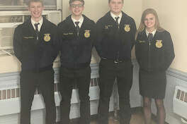 Franklin FFA members Thad Bergschneider (from left), Brayden Colwell, Cody Spencer and Kaylee Ford attended the Section 13 Ag Business and Public Speaking CDE this week at Pleasant Hill High School. The team placed second in agriculture business and Colwell placed seventh, Bergschneider was sixth and Ford received fifth. In the public speaking section, Bergschneider was first in creed speaking; Colwell placed first in varsity prepared public speaking; Ford was first in JV prepared public speaking and Spencer placed fourth in JV extemporaneous public speaking. Bergschneider and Colwell will advance to the district public speaking competition on April 8 at Western Illinois University.