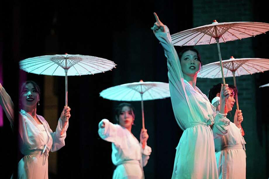 SVSU students from China perform traditional dancing as part of SVSU's Intercultural Night event in March 2019.(Photo by Kyle Will, SVSU).