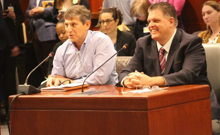 State Rep. David Rutigliano is joined by Board of Finance member Marty Isaac during a public hearing about later school starting times. Photo: Contributed