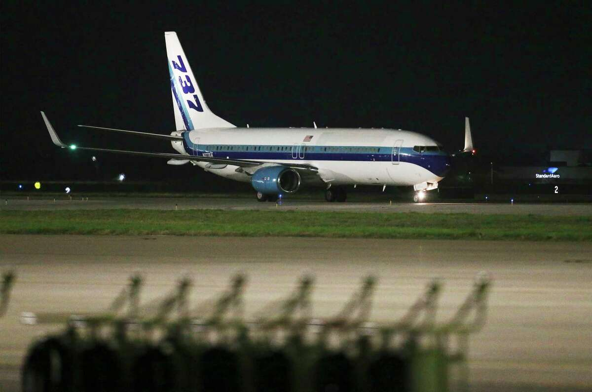 A second charter flight from Oakland carrying passengers evacuated from the Grand Princess cruise ship arrives at Joint Base San Antonio-Lackland at about 4:48 a.m. on Thursday, March 12, 2020.