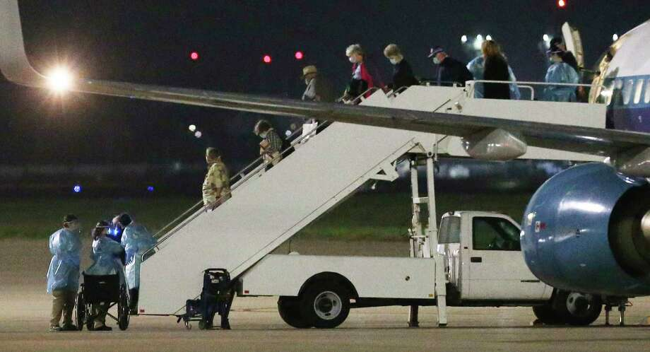 A second charter flight from Oakland carrying passengers evacuated from the Grand Princess cruise ship arrives at Joint Base San Antonio-Lackland at about 4:48 a.m. on Thursday, March 12, 2020. Photo: Kin Man Hui, Staff Photographer / **MANDATORY CREDIT FOR PHOTOGRAPHER AND SAN ANTONIO EXPRESS-NEWS/NO SALES/MAGS OUT/ TV OUT