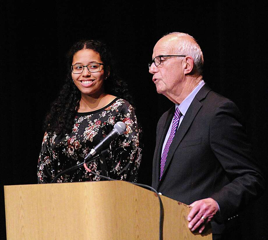 The 2018 Fleishman Award for community service went to Greenwich High School senior Rene LaPointe Jameson. Presenting the award during the Greenwich Public Schools Community Service Awards Ceremony was former superintendent Ernest Fleishman. The 2020 Community Service Awards Ceremony will be held virtually due to the limits on public gatherings due to the coronavirus. Photo: File / / Greenwich Time