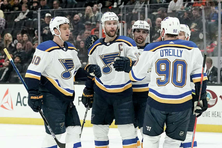 Blues defenseman Alex Pietrangelo (middle) celebrates after scoring against the Ducks during the first period of the Blues' win Wednesday night in Anaheim, Calif. Photo: Associated Press