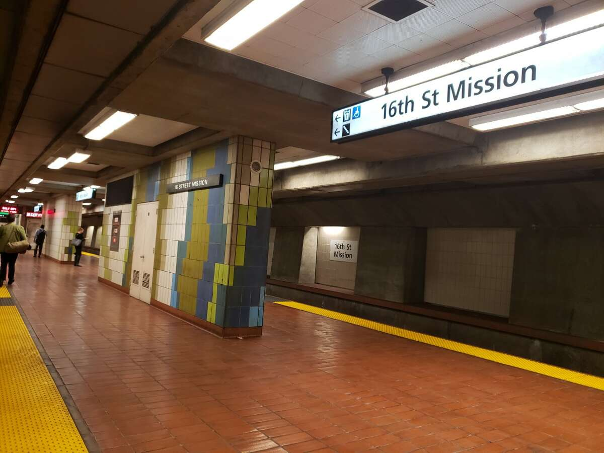 The 16th St. Mission BART station is nearly empty during the morning commute in San Francisco on Thursday, March 12, 2020.