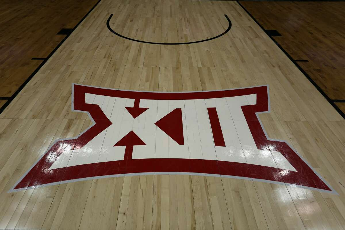 KANSAS CITY, MO - MARCH 14: A view of the Big 12 logo on the court before a quarterfinal Big 12 tournament game between the Iowa State Cyclones and Baylor Bears on March 14, 2019 at Sprint Center in Kansas City, MO. (Photo by Scott Winters/Icon Sportswire via Getty Images)