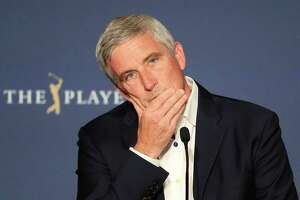 PONTE VEDRA BEACH, FLORIDA - MARCH 12: PGA TOUR Commissioner, Jay Monahan speaks to the media in a press conference addressing the Coronavirus disease (COVID-19) during the first round of The PLAYERS Championship on The Stadium Course at TPC Sawgrass on March 12, 2020 in Ponte Vedra Beach, Florida. (Photo by Cliff Hawkins/Getty Images)