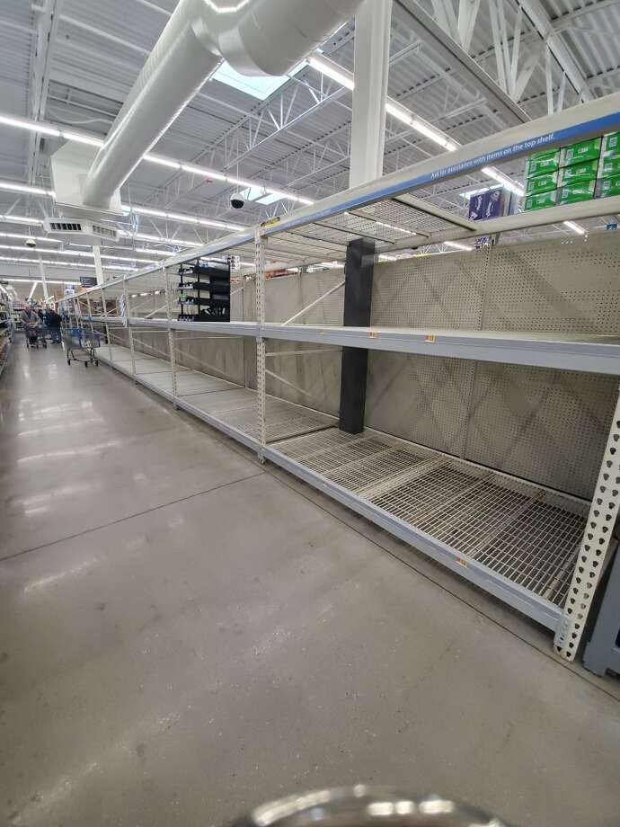 Empty shelving at Walmart in Midland. Photo: Daily News/Ashley Schafer