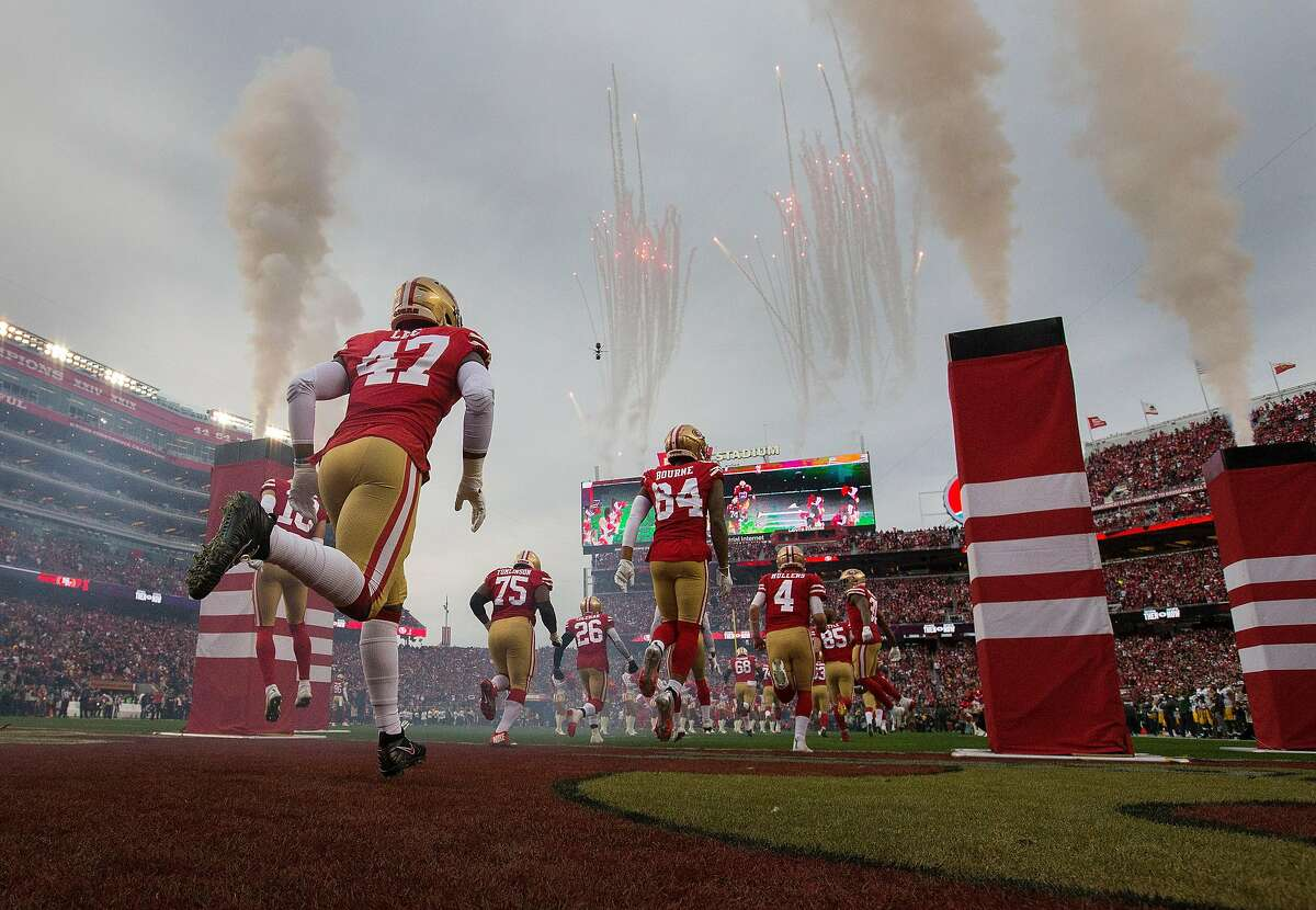 49ers players enter the field during introductions before the San Francisco 49ers defeated the Green Bay Packers 37-20, in the NFC Championship Game at Levi's Stadium in Santa Clara , Calif., on Sunday, January 19, 2020. The 49ers will advance to play in Super Bowl LIV