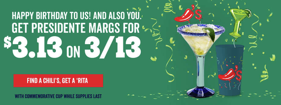 Chili's 45th birthday is on Friday and the national chain restaurant is celebrating with their 21-and-up guests by offering $3.13 President Margaritas to mark the March 13 anniversary.  Photo: Courtesy, Chili's