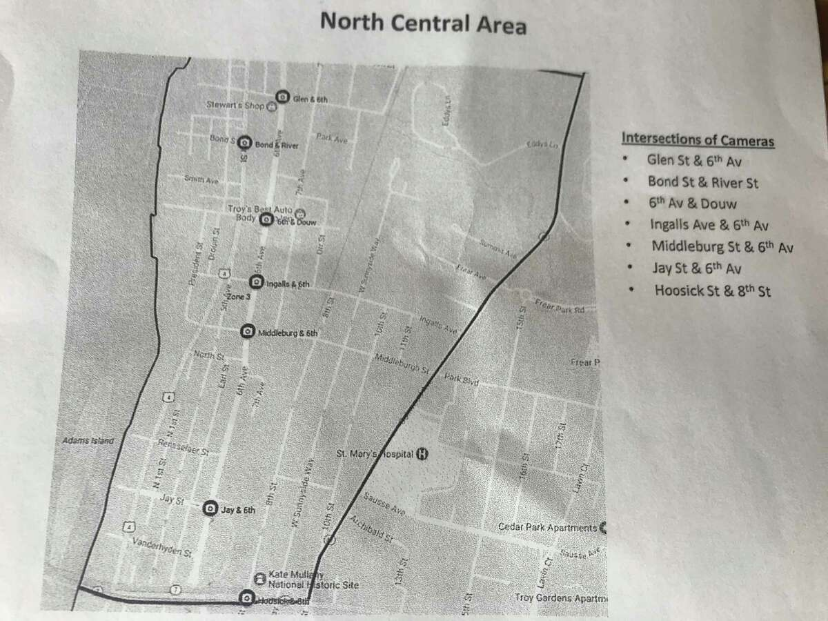 City of Troy bid documents showing map of police surveillance cameras in North Central.