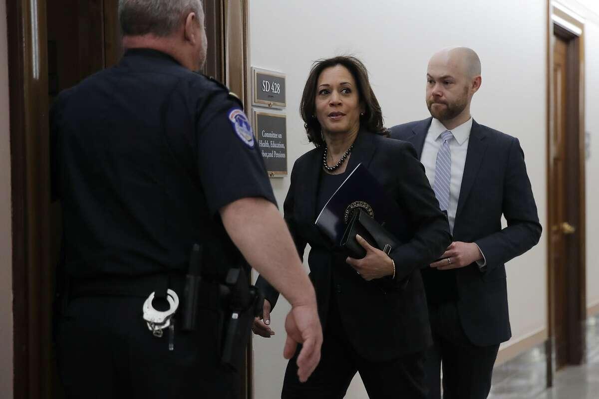 Sen. Kamala Harris, D-Calif., arrives for a briefing on Capitol Hill in Washington, Thursday, March, 12, 2020, on the coronavirus outbreak. (AP Photo/Carolyn Kaster)