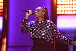 """THE VOICE -- """"Blind Auditions"""" Episode 1804 -- Pictured: Anaya Cheyenne -- (Photo by: Mitchell Haddad/NBC/NBCU Photo Bank via Getty Images)"""