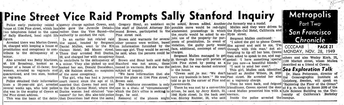 Chronicle coverage of the raid of an establishment owned by Sally Stanford, November 28, 1949