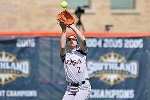 UTSA's Celeste Loughman fields the ball during an NCAA softball game against North Texas on Sunday, March 8, 2020, in San Antonio. (AP Photo/Darren Abate)
