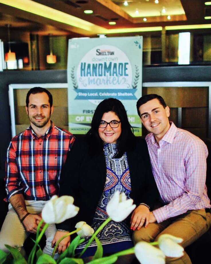 Celebrate Shelton founders Michael Skrtic, left, Nicole Heriot-Mikula and Jimmy Tickey prepare for their group's second annual Mamas & Mimosas on Mother's Day weekend, Saturday, May 9, from 10 a.m. to 2 p.m. at Adams House in Shelton. Photo: Contributed Photo / Connecticut Post