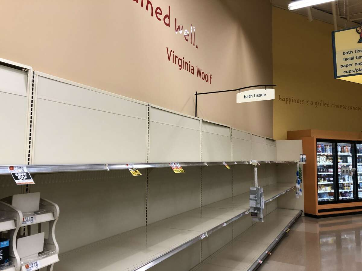 The toilet paper aisle at Hannaford Supermarket on Trieble Avenue in Ballston Spa, N.Y. on Wednesday, March 11, 2020 stands empty amid a global coronavirus pandemic.