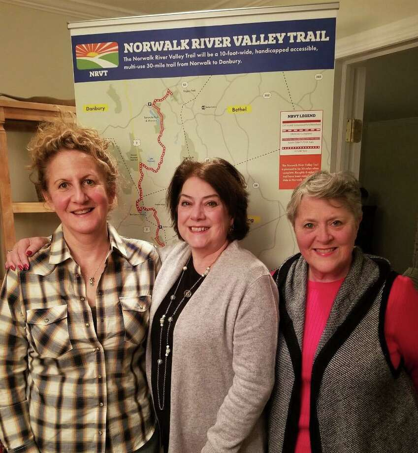 The Norwalk River Valley Trail's new executive director, Beth Merrill, center, is with NRVT board members and Wilton residents Cathy Smith, left, and Helen Rendell Baker. Photo: Contributed Photo / Norwalk River Valley Trail / Wilton Bulletin Contributed