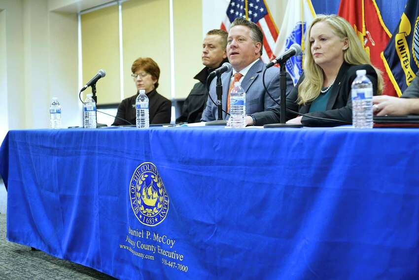 Albany Mayor Kathy Sheehan, left, Albany County Sheriff Craig Apple, second from left, Albany County Executive Dan McCoy, third from left, and Albany County Department of Health Commissioner, Dr. Elizabeth Whalen, take part in a press conference to discuss the COVID-19 cases in Albany County on Thursday, March 12, 2020, in Albany, N.Y. (Paul Buckowski/Times Union)