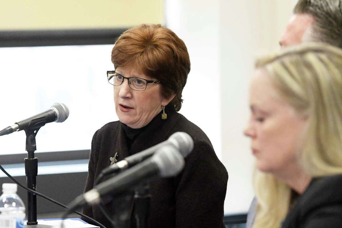 Albany Mayor Kathy Sheehan speaks about the cancellation of the St. Patrick's Day parade because of COVID-19 cases in Albany County during a press conference on Thursday, March 12, 2020, in Albany, N.Y. (Paul Buckowski/Times Union)