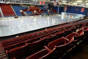 Empty seats are seen in the Houston Field House at Rensselaer Polytechnic Institute on Thursday, March 12, 2020 in Albany, N.Y. RPI's hockey coach Dave Smith talked to the media after finding out they had to pull their team out of the ECAC Tournament RPI's hockey team is now done for the season. (Lori Van Buren/Times Union)