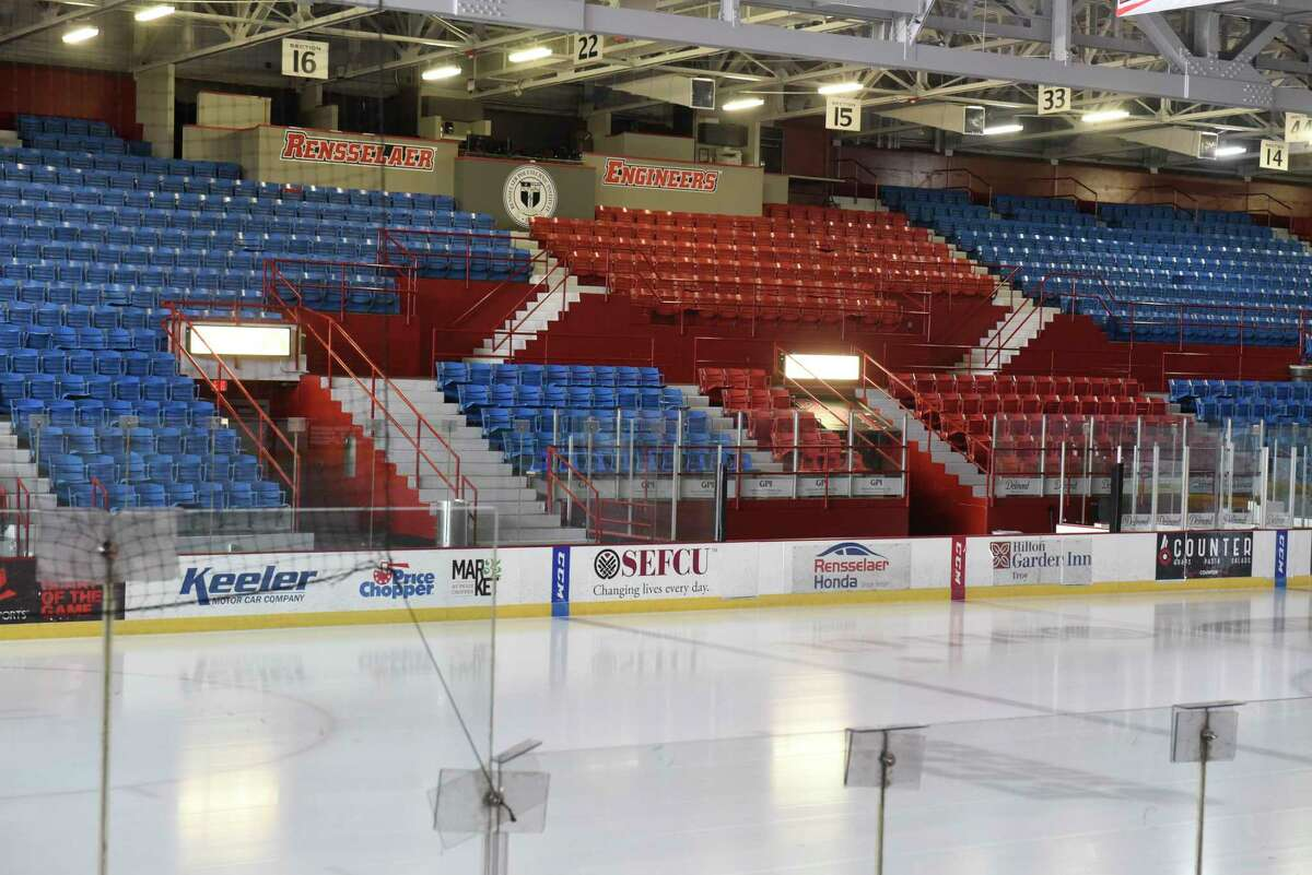 Empty seats are seen in the Houston Field House at Rensselaer Polytechnic Institute on Thursday, March 12, 2020 in Troy, N.Y. RPI's hockey coach Dave Smith talked to the media after finding out they had to pull their team out of the ECAC Tournament. RPI's hockey team is now done for the season. (Lori Van Buren/Times Union)