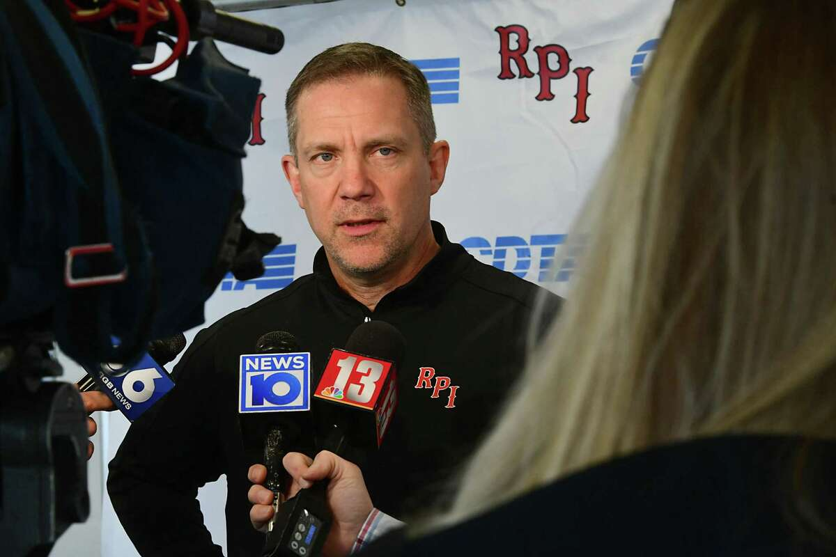 Rensselaer Polytechnic Institute hockey coach Dave Smith talks to the media after finding out they had to pull their team out of the ECAC Tournament on Thursday, March 12, 2020 in Albany, N.Y. RPI's hockey team is now done for the season. (Lori Van Buren/Times Union)