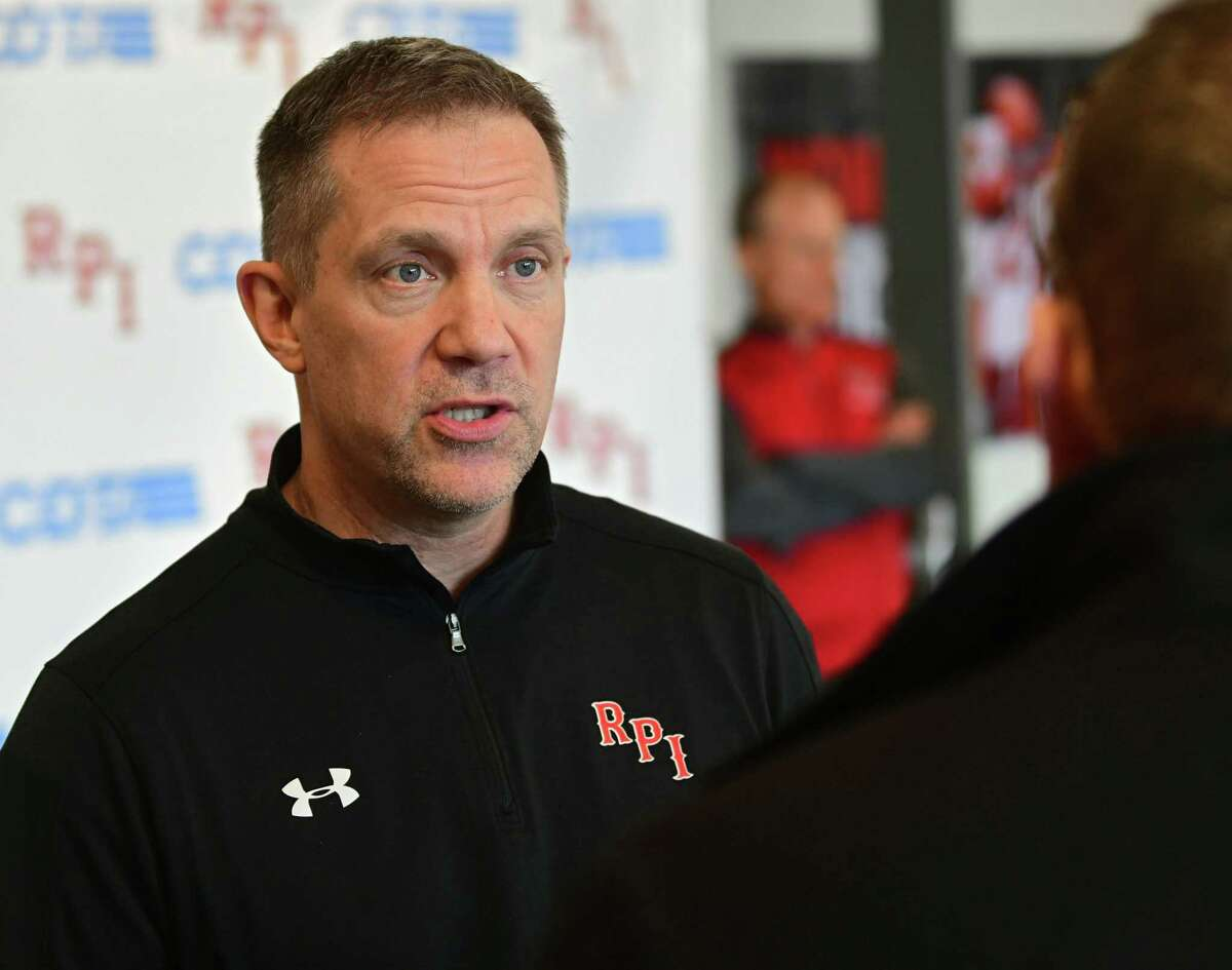 Rensselaer Polytechnic Institute hockey coach Dave Smith talks to the media after finding out they had to pull their team out of the ECAC Tournament on Thursday, March 12, 2020 in Troy, N.Y. RPI's hockey team is now done for the season. (Lori Van Buren/Times Union)